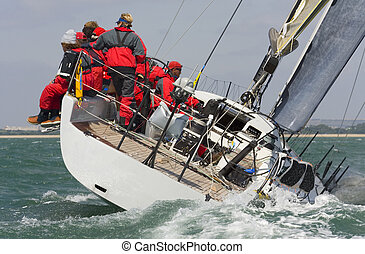 Sailing Away - A fully crewed racing yacht racing hard and...