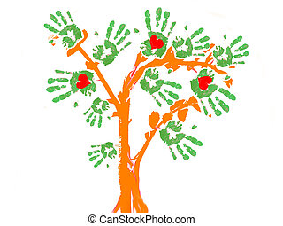 green tree handprint - an abstract tree with the leafs in...