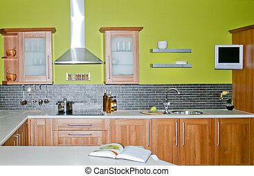 Wooden kitchen - Modern wooden kitchen with green painted...
