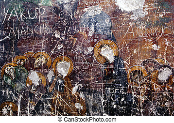 Vandalism - Fresco on the wall of church in Sumela monastery...
