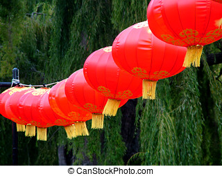 Chinese red lanterns to celebrate the Chinese New Year