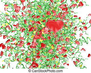 hearts firework - The red hearts and paper streamers...