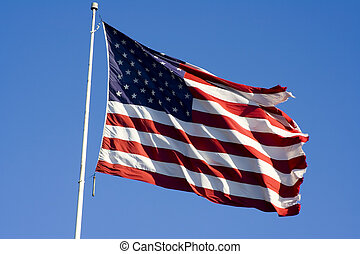 independence day flag - Stars and stripes flying in the wind...