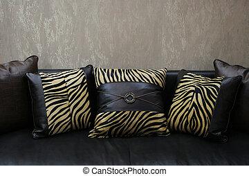 moderno, sofá, cuero, Leopardo, piel, cojines, (copy,...