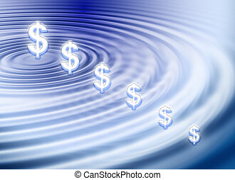 Dollar ripple - Background about dollar symbol on water...