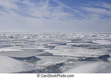 A quilt of ice - Winter on Lake Erie, Ontario Blue sky,...