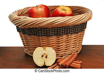 バスケット, りんご, シナモン