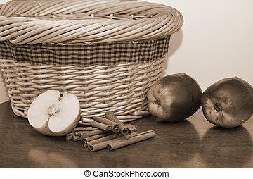 バスケット, 国, セピア, りんご