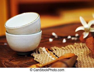 asiático, alfarería, tazas, bebida, té,...