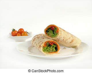 Fresh salad wrap - A vegetarian salad wrapped in tortilla...