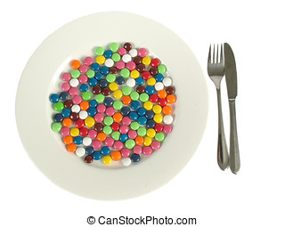 Plate of candy - A dinner plate of colorful candies