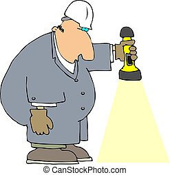 Worker With A Flashl - This illustration depicts a workman...