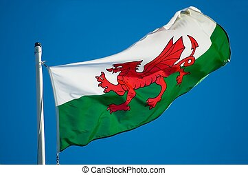 Welsh Flag - The Griffon of Wales flying over Caerphilly...
