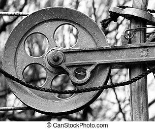 Clothesline Reel - A black white photo of an aluminum...