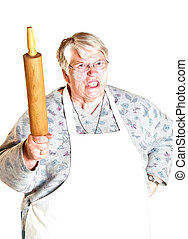 angry grandma - An angry grandmother shaking her rolling pin...
