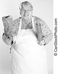 baking granny - A black and white photo of grandmother...