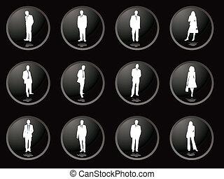 Botões, homens, amora preta, negócio