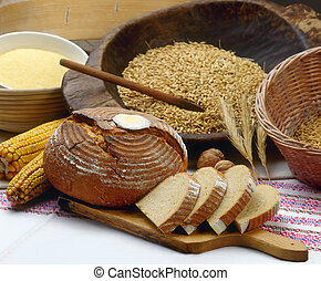Bakery - Arrangement of multigrain bread with ingredients