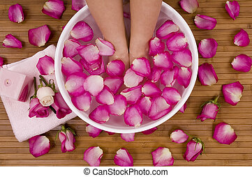Pedispa - Spa Treatment with aromatic roses, petals, and...