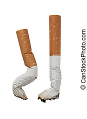 Two stubs of cigarettes on a white background