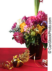 easter flowers - easter bouquet with brown egg and...