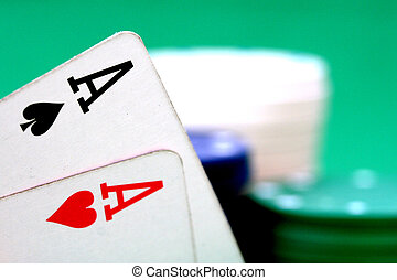 Aces and poker chip