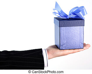 Businessman gift - Businessman with gift