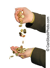 Stream of golden coins - Golden coin flowing from one hand...
