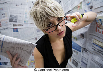 journalist - women at work: journalist standing against a...