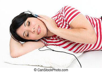 Woman resting with favourite music