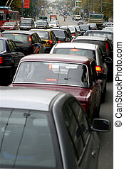 traffic-jam - Lasting many hours traffic-jam on roads lead...