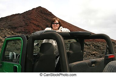 Woman in jeep