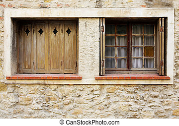 Antibes #79 - Windows of a house in Antibes, France. Copy...