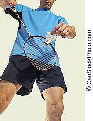 Badminton service - Badminton serve isolated on a white...