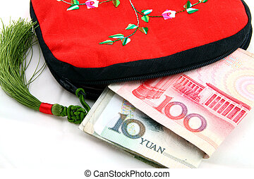 wallet with money - Chinese tradition wallet with money on...
