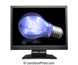 light bulb in lcd screen isolated on white