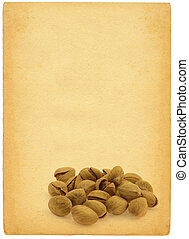 pistachios against retro background