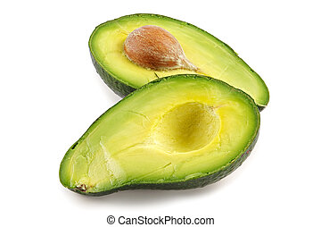 Avocado-oily nutritious fruitTwo fleshy halfs on white...