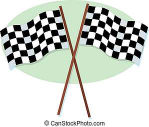Checkered Racing Fla - A crossed pair of checkered racing...
