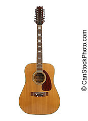 12-string guitar - 12-string acoustic guitar, isolated on a...