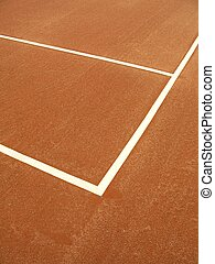 Tennis court - 1 - Detail of a clay tennis court, showing...