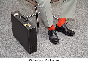 Colorful businessman waiting - Informal businessman or a job...