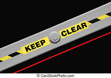 Keep Clear warning label on industrial equipment. Isolated...
