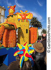 Menton 19 - Spectators on the Citrus parade in Menton,...