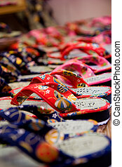Japanese Slippers - Colorful Japanese slippers sold on the...