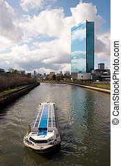 Osaka River Cruise - A scenic cruise boat on a river in...
