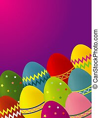 Eastertime - A colorful illustration of Easter eggs on a...