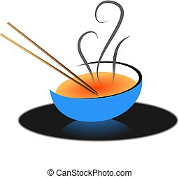 Asian Soup - Chop sticks and soup bowl Asian soup...