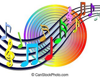 Colorful Music Notes - colorful music bars & notes - 3d...