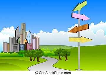 Arrows Pointing - Arrows pointing to different cities scenic...